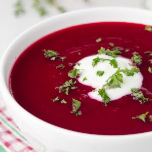 Beetroot Soup with Sweet Potato, Coconut & Lime